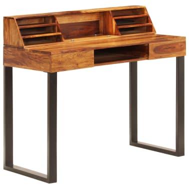 """vidaXL Desk 43.3""""x19.7""""x37"""" Solid Sheesham Wood and Steel[11/12]"""