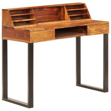 """vidaXL Desk 43.3""""x19.7""""x37"""" Solid Sheesham Wood and Steel[12/12]"""