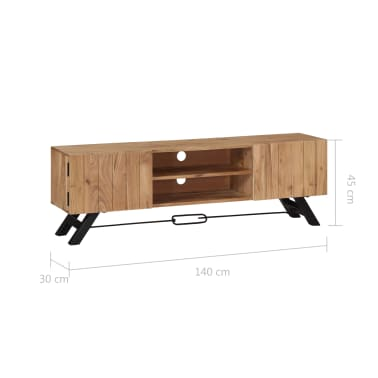 "vidaXL TV Cabinet 55.1""x11.8""x17.7"" Solid Acacia Wood[8/12]"