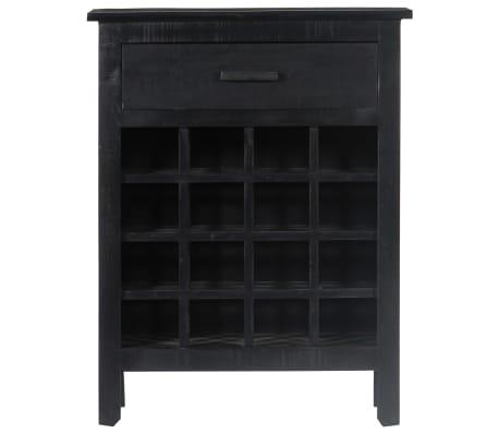 vidaXL Casier à bouteilles Noir 56x35x75 cm Bois de manguier massif[2/11]