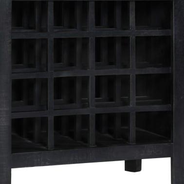 vidaXL Casier à bouteilles Noir 56x35x75 cm Bois de manguier massif[6/11]