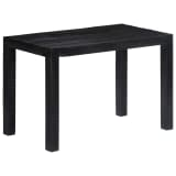 vidaXL Valgomojo stalas, juodas, 118x60x76cm, mango medienos masyvas