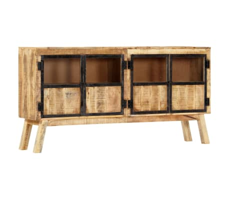 "vidaXL Sideboard Brown and Black 63""x11.8""x31.5"" Solid Rough Mango Wood[8/11]"