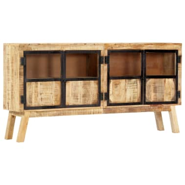 "vidaXL Sideboard Brown and Black 63""x11.8""x31.5"" Solid Rough Mango Wood[10/11]"