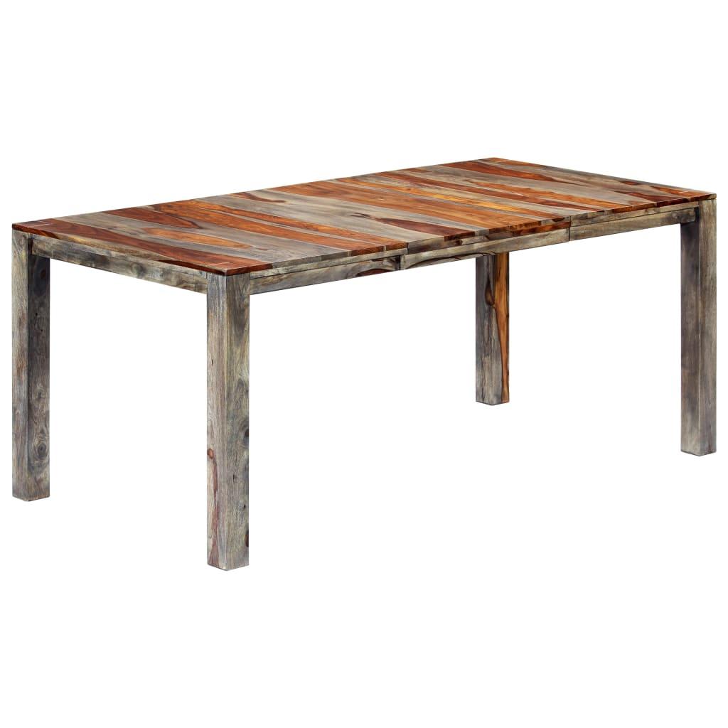 vidaXL Stół jadalniany, szary, 180 x 90 x 76 cm, lite drewno sheesham