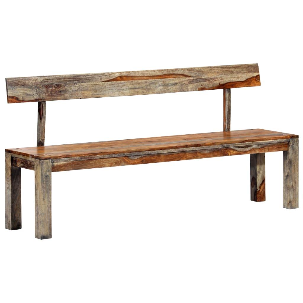 vidaXL Bancă, gri, 160 cm, lemn masiv de sheesham poza vidaxl.ro