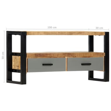 "vidaXL TV Cabinet 39.4""x11.8""x19.7"" Solid Mango Wood[8/11]"