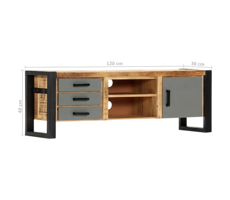 "vidaXL TV Cabinet 47.2""x11.8""x15.7"" Solid Mango Wood[8/13]"
