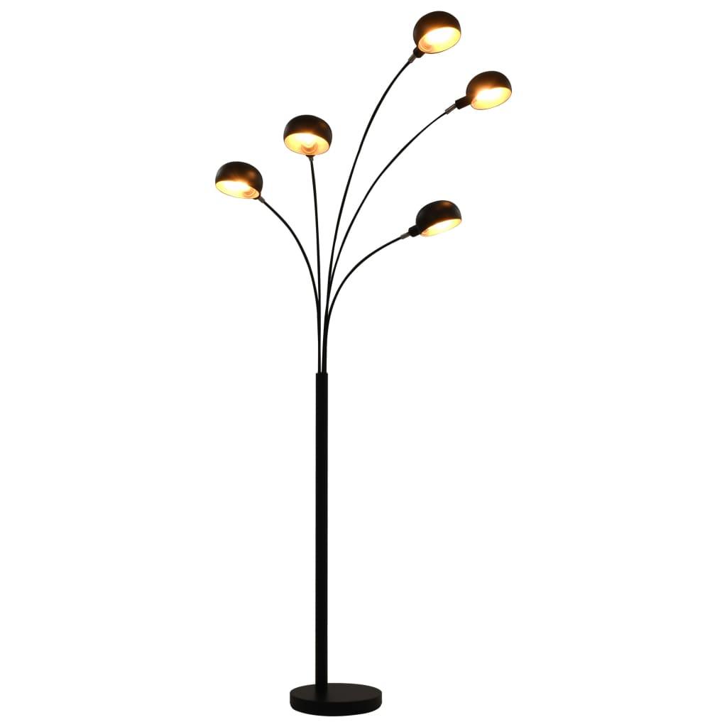 vidaXL Lampă de podea, negru și auriu, 200 cm, 5 x E14 poza 2021 vidaXL