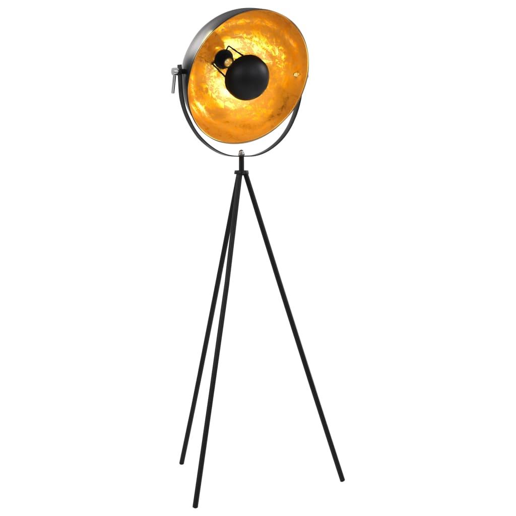 vidaXL Lampa stojąca, E27, czarno-złota, 41 cm