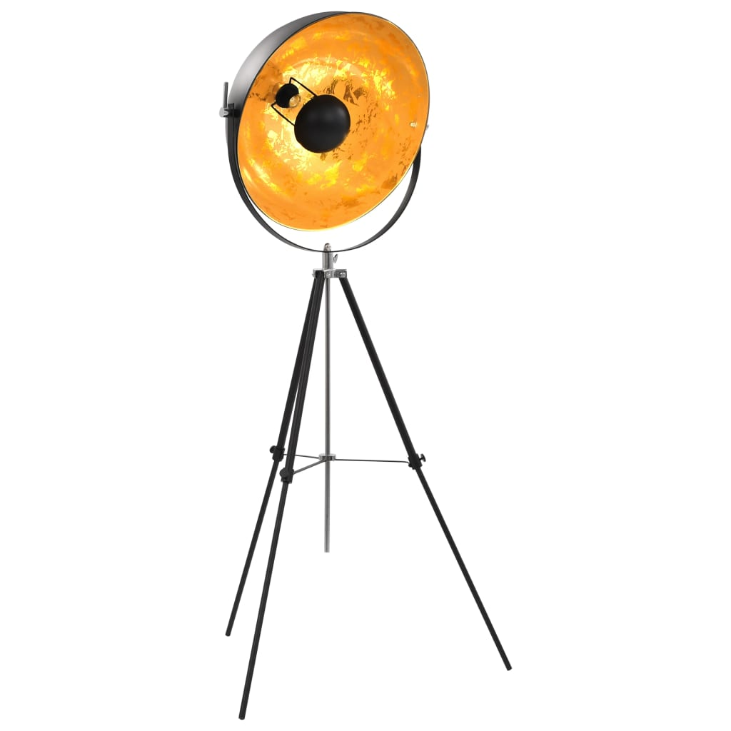 vidaXL Lampă de podea, negru și auriu, 51 cm, E27 poza vidaxl.ro