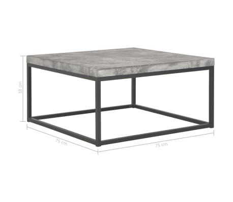 Vidaxl Coffee Table 75x75x38 Cm Concrete Look