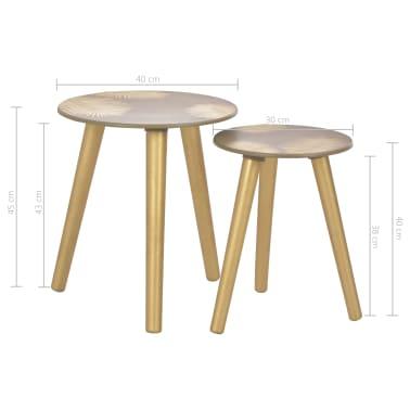 vidaXL Stoliki boczne, 2 szt., złote, 40x45 cm/30x40 cm, MDF[5/5]