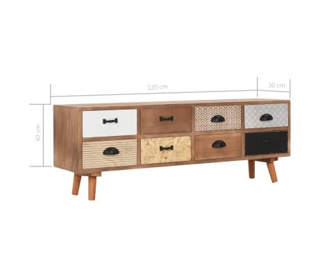vidaXL Comodă TV cu 8 sertare, 120x30x40 cm, lemn masiv pin[8/8]
