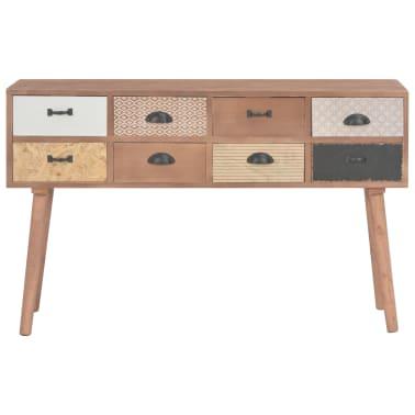 vidaXL Masă consolă cu 8 sertare, 120x30x76 cm, lemn masiv pin[4/9]
