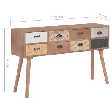vidaXL Masă consolă cu 8 sertare, 120x30x76 cm, lemn masiv pin[9/9]