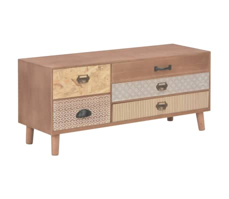 vidaXL TV Cabinet with 5 Drawers 90x30x40 cm Solid Pinewood