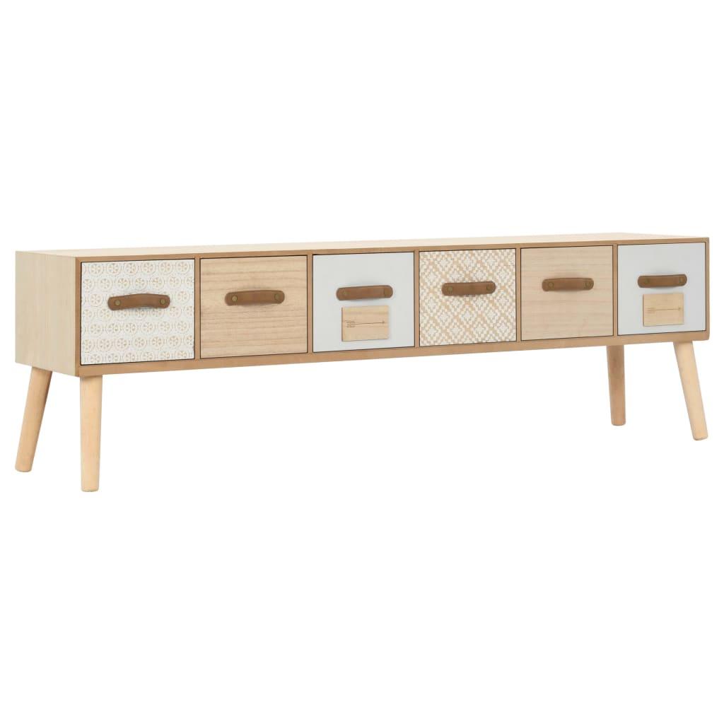 vidaXL Comodă TV cu 6 sertare, 130 x 30 x 40 cm, lemn masiv de pin poza vidaxl.ro