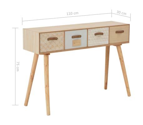 vidaXL Masă consolă cu 4 sertare, 110x30x75 cm, lemn masiv pin[8/8]
