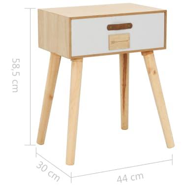 vidaXL Noptieră cu sertar, 44 x 30 x 58,5 cm, lemn masiv de pin[7/7]