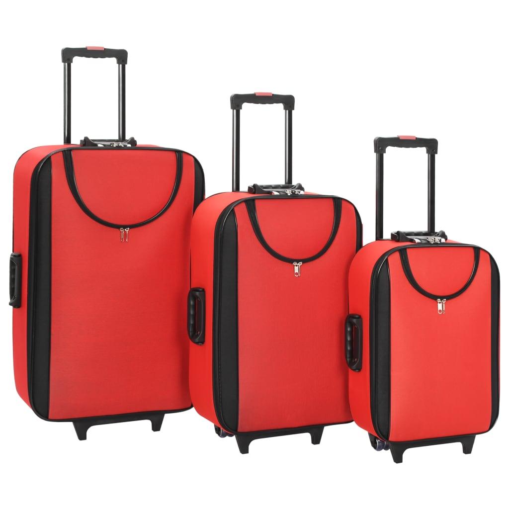 vidaXL Měkké kufry na kolečkách 3 ks červené oxfordská látka