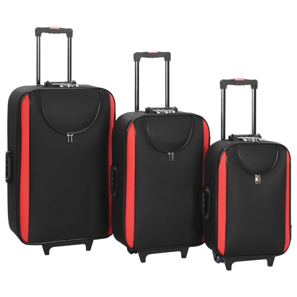 Měkké kufry na kolečkách 3 ks černé oxfordská látka