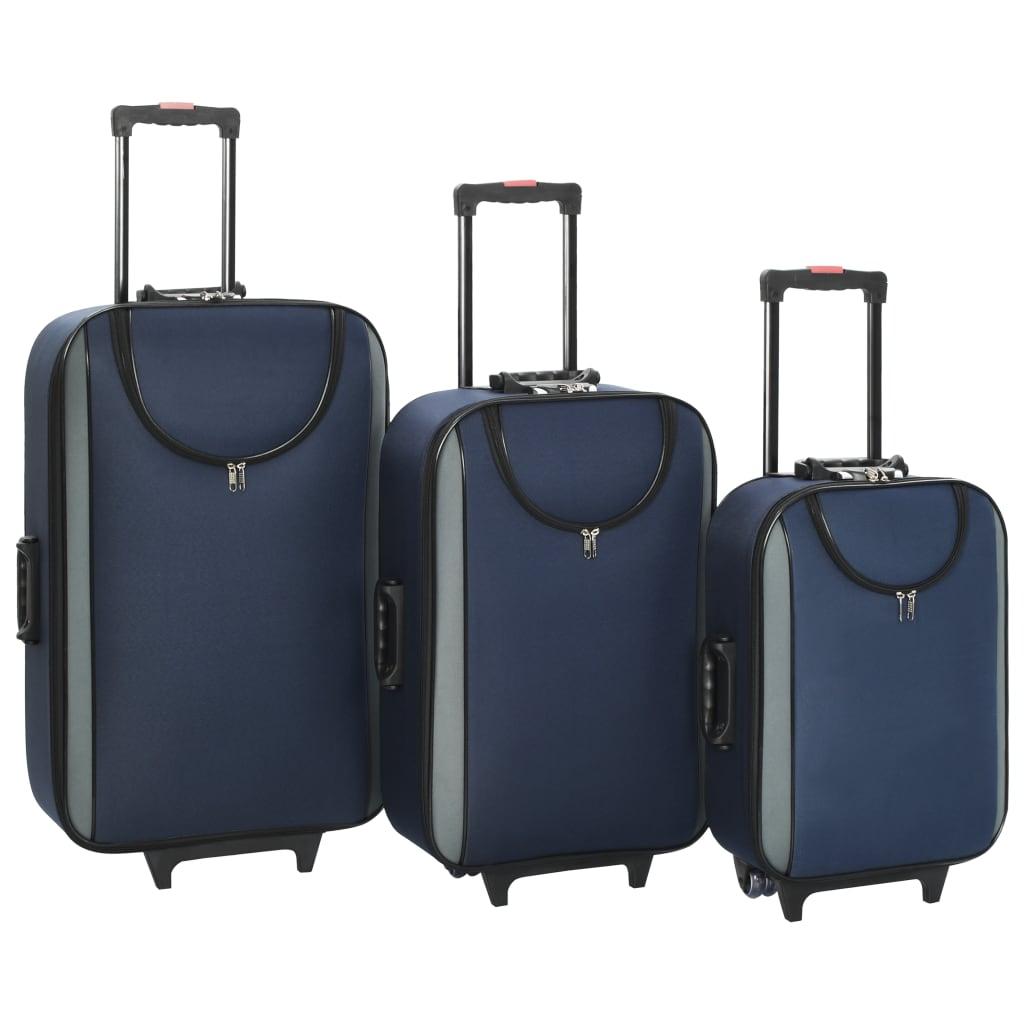 Měkké kufry na kolečkách 3 ks námořnicky modré oxfordská látka