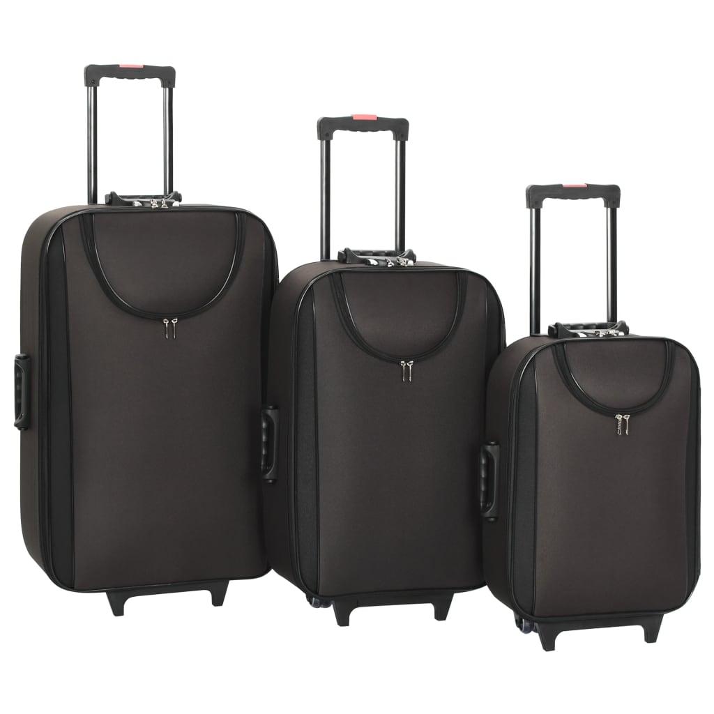 vidaXL Měkké kufry na kolečkách 3 ks hnědé oxfordská látka