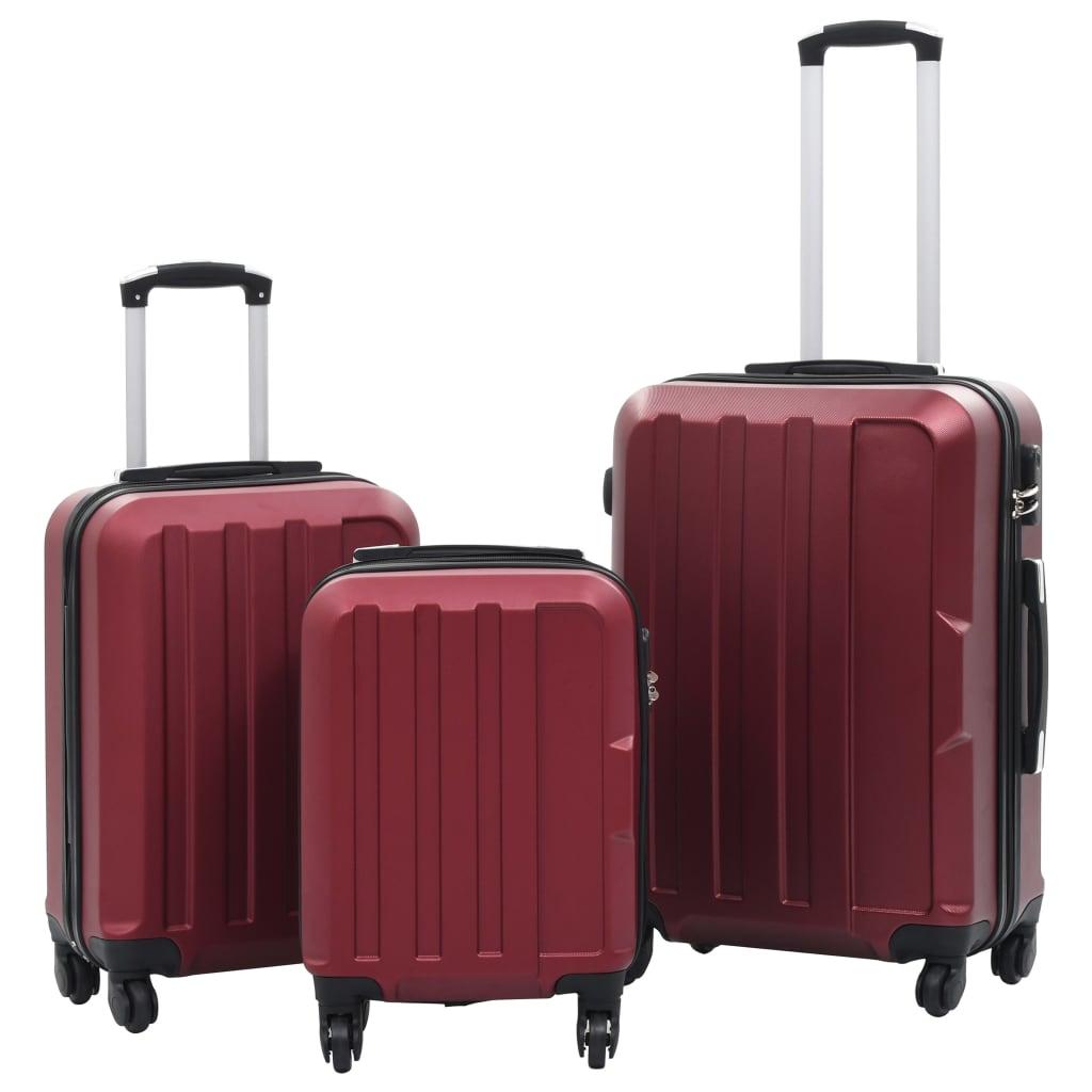 Sada skořepinových kufrů na kolečkách 3 ks vínová ABS