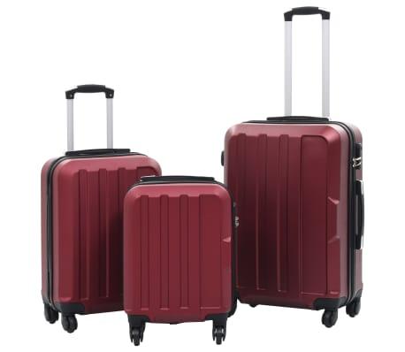 vidaXL Juego de maletas rígidas ruedas trolley 3 pzas rojo tinto ABS