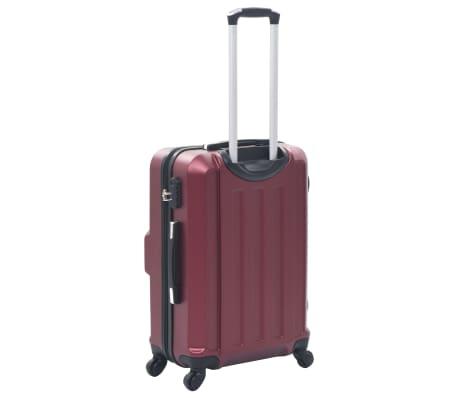 vidaXL Juego de maletas rígidas ruedas trolley 3 pzas rojo tinto ABS[4/8]