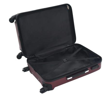 vidaXL Juego de maletas rígidas ruedas trolley 3 pzas rojo tinto ABS[6/8]