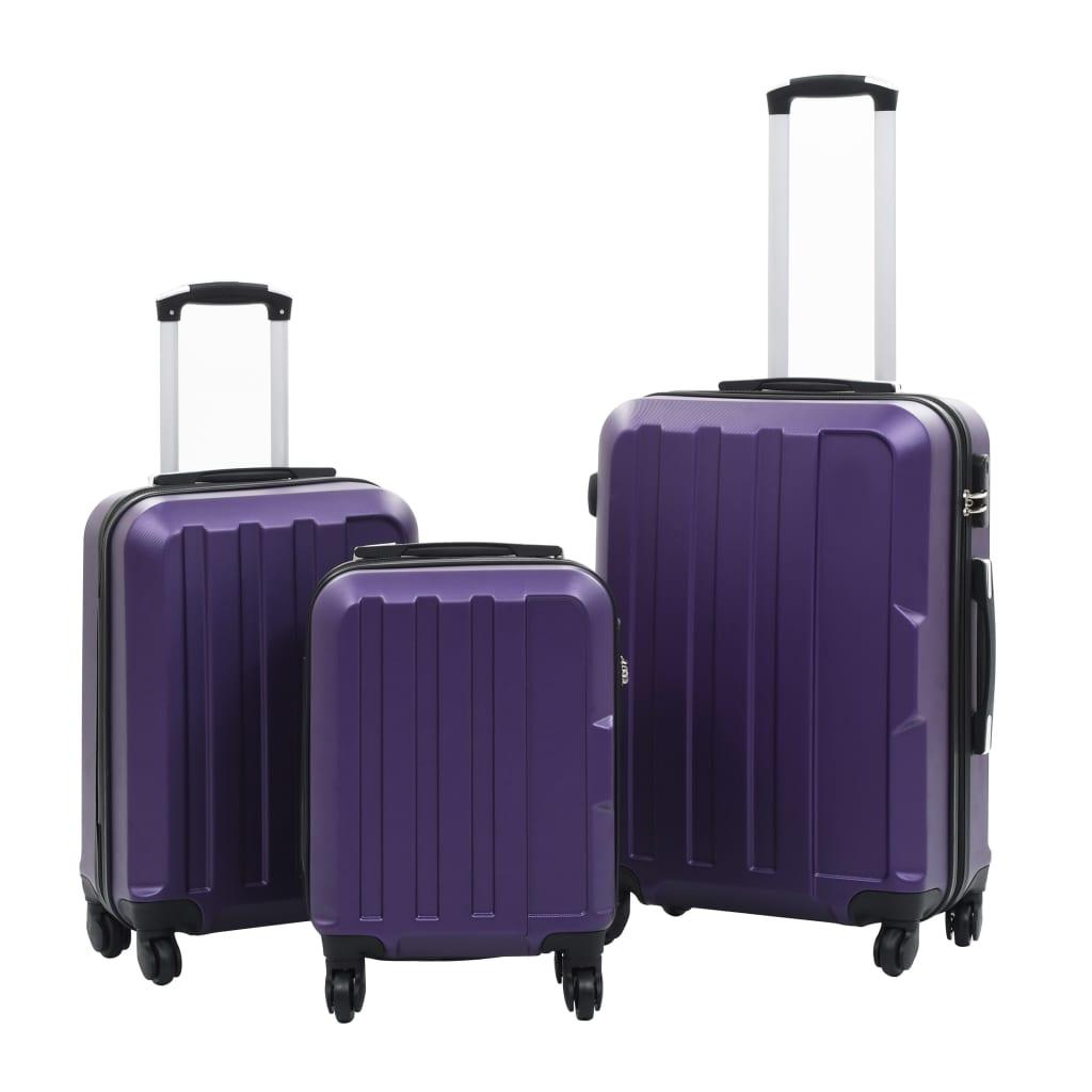 vidaXL Sada skořepinových kufrů na kolečkách 3 ks fialová ABS