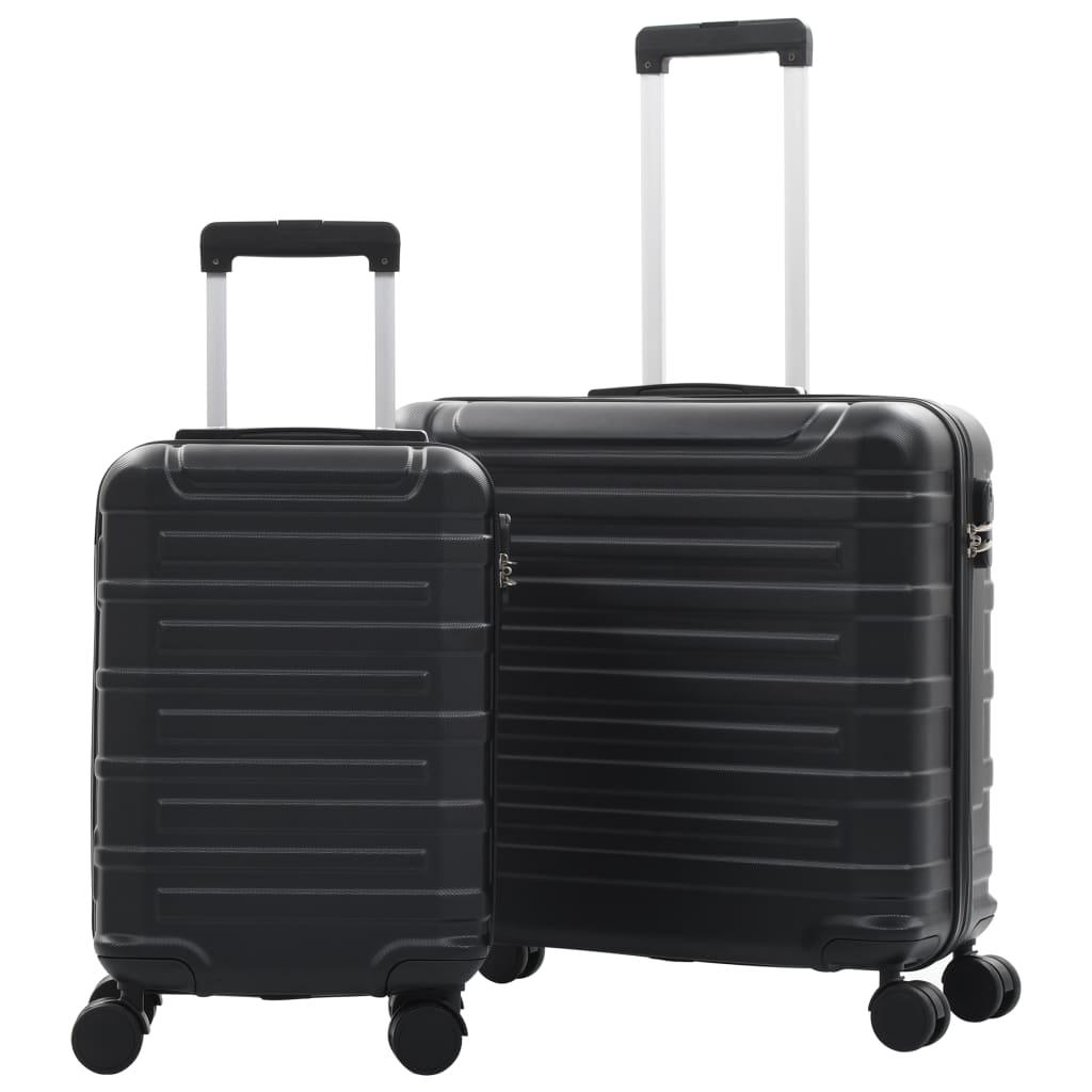 Sada skořepinových kufrů na kolečkách 2 ks černá ABS