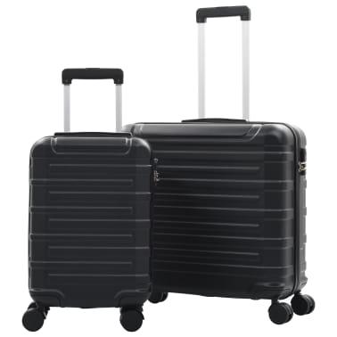 vidaXL Juego de maletas rígidas con ruedas trolley 2 piezas negro ABS[1/9]