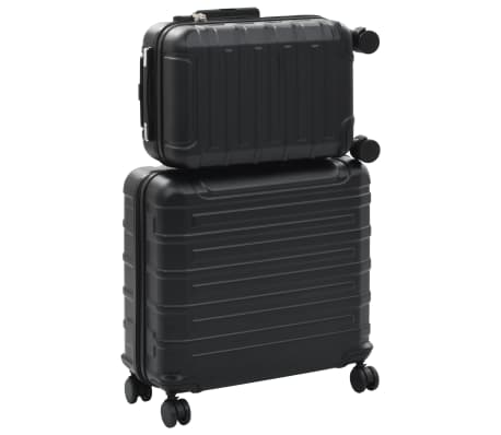 vidaXL Juego de maletas rígidas con ruedas trolley 2 piezas negro ABS[2/9]