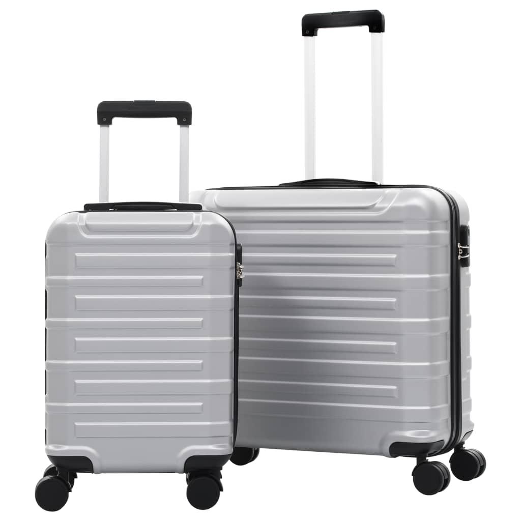 Sada skořepinových kufrů na kolečkách 2 ks stříbrná ABS