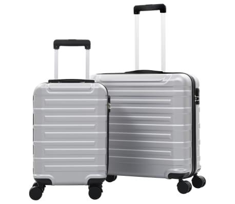 vidaXL Juego de maletas trolley rígidas 2 piezas plateado ABS