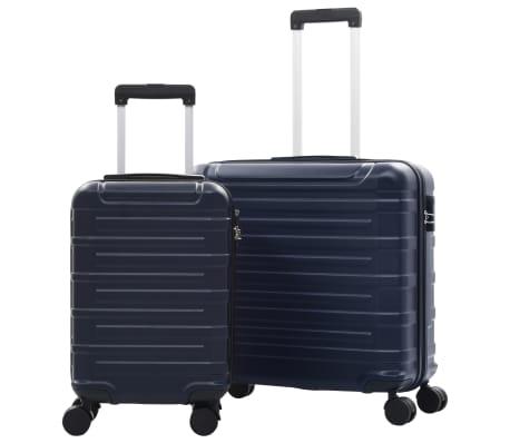 vidaXL Juego de maletas trolley rígidas 2 piezas azul marino ABS