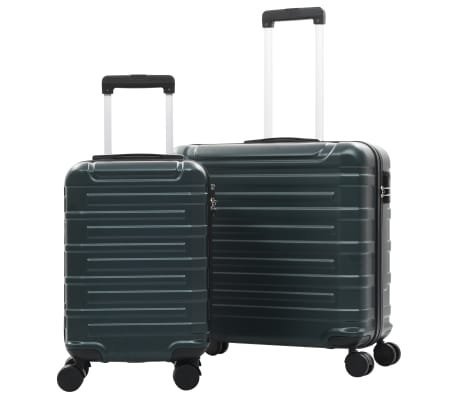 vidaXL Juego de maletas trolley rígidas 2 piezas verde ABS