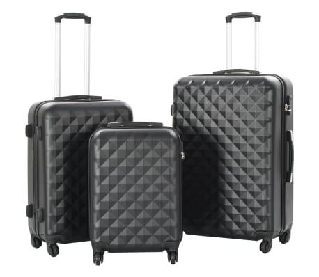 vidaXL Hardcase Trolley Set 3 pcs Black ABS[1/8]