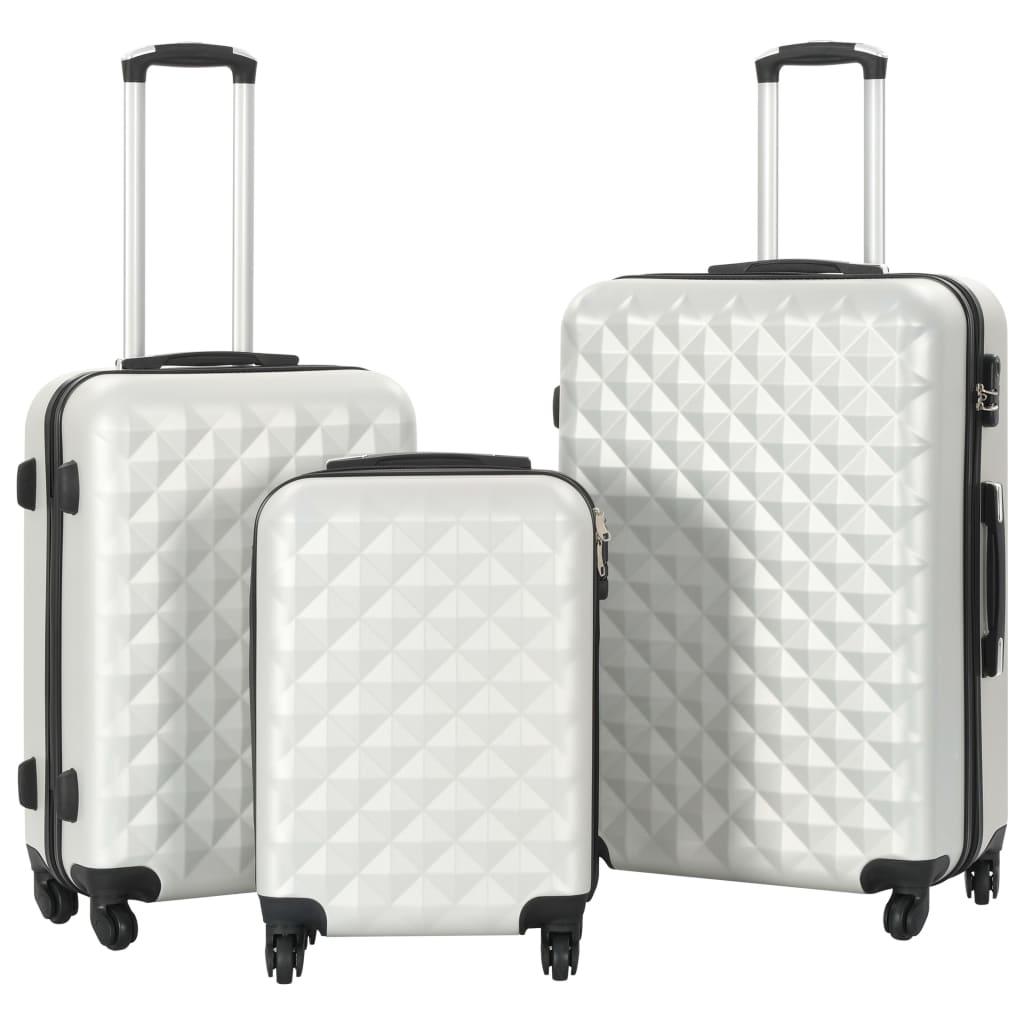 Sada skořepinových kufrů na kolečkách 3 ks jasně stříbrná ABS
