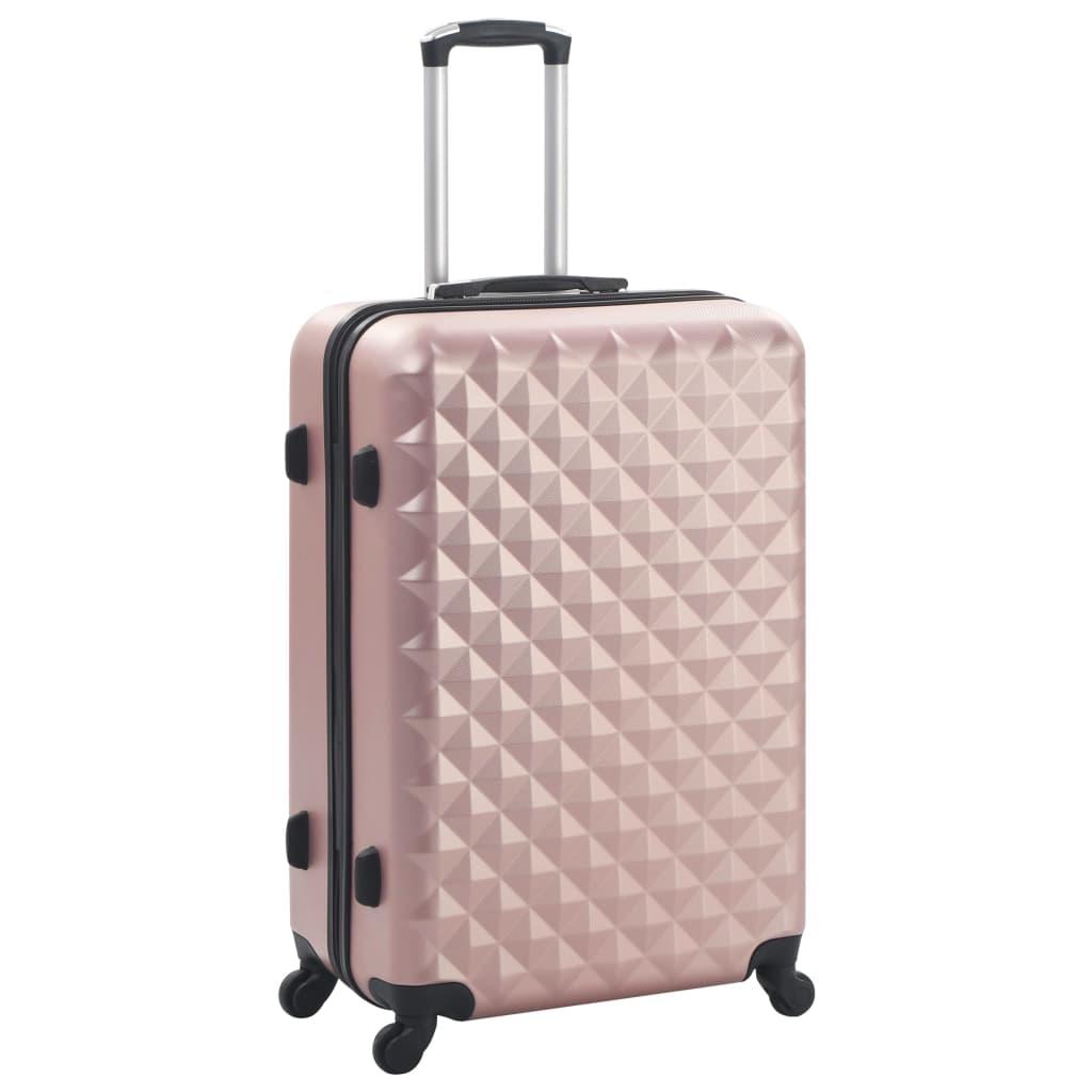 Kõvakattega kohver 3 tk roosakaskuldne ABS