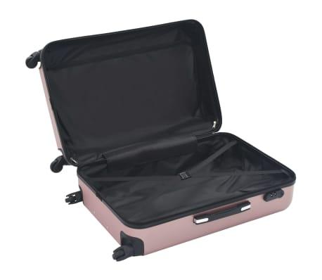 vidaXL Hardplast trillekoffert sett 3 stk rose gull ABS[6/8]