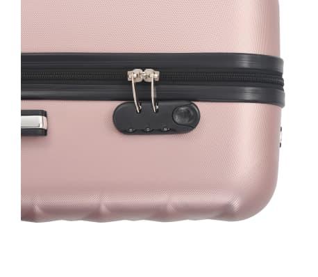 vidaXL Hardplast trillekoffert sett 3 stk rose gull ABS[8/8]