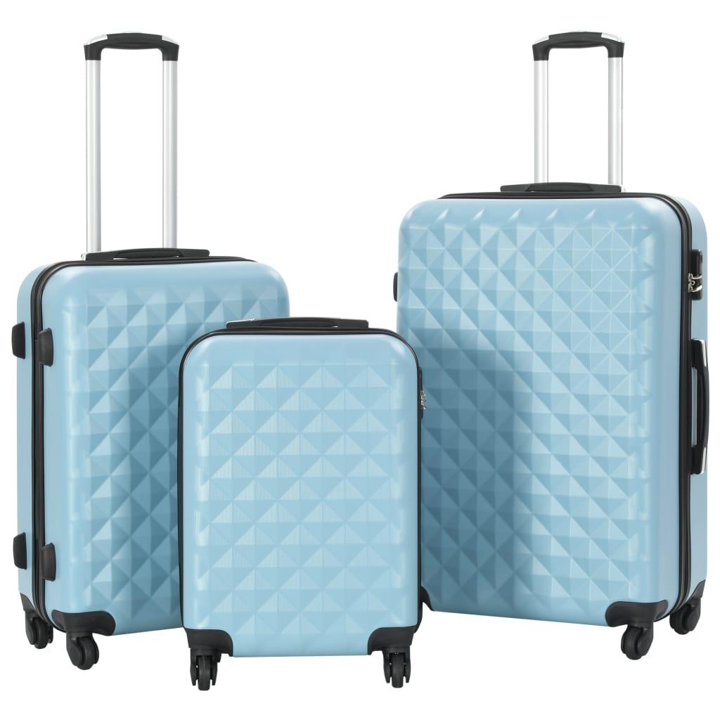 vidaXL Set valiză carcasă rigidă, 3 buc., albastru, ABS imagine vidaxl.ro