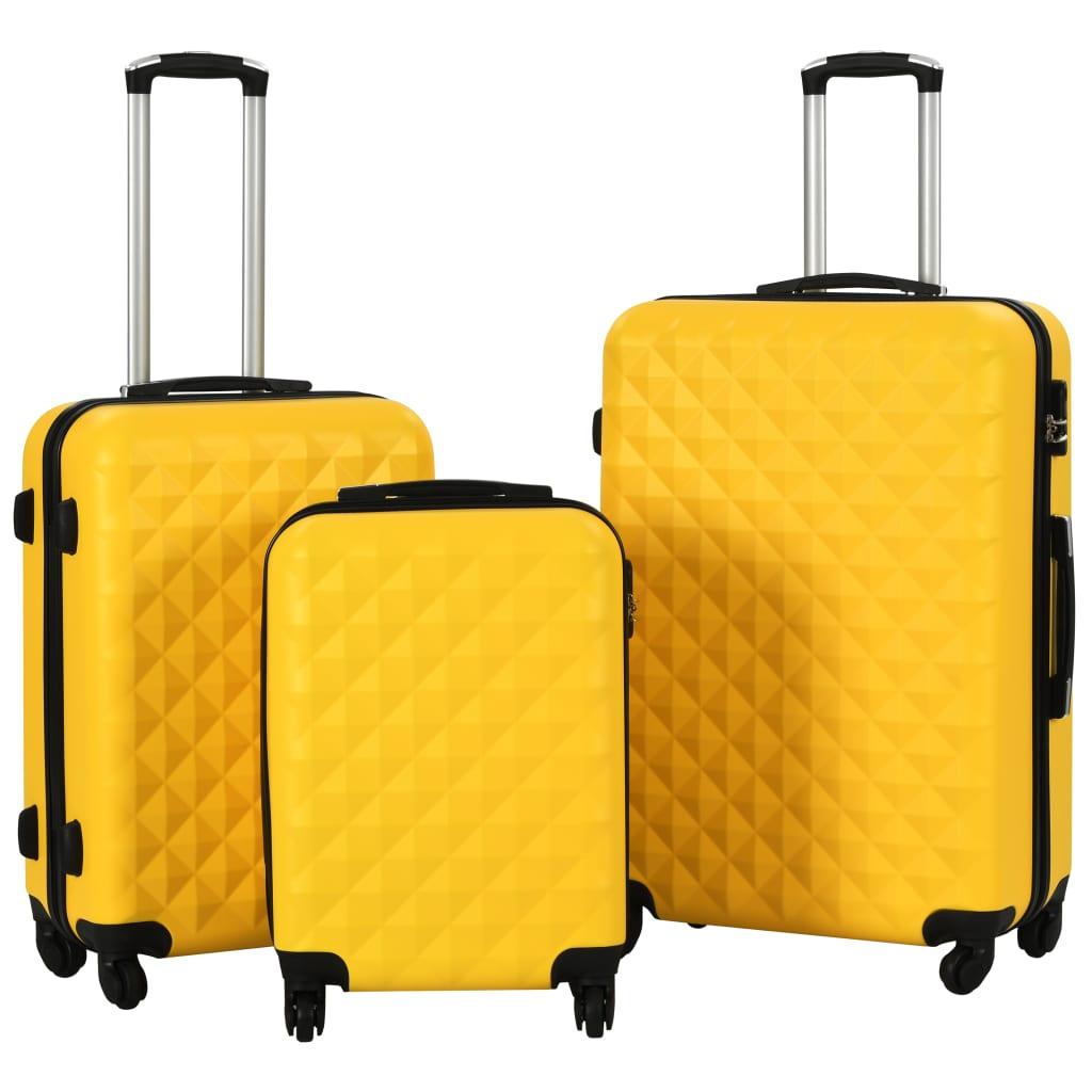 Sada skořepinových kufrů na kolečkách 3 ks žlutá ABS