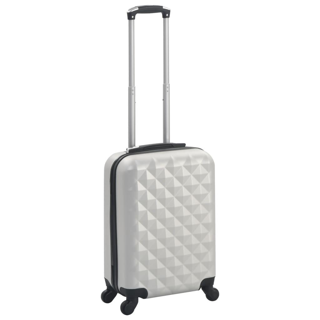 vidaXL Skořepinový kufr na kolečkách jasně stříbrný ABS