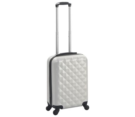 vidaXL Maleta con ruedas trolley rígida plateada brillante ABS[1/7]