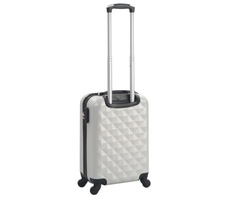 vidaXL Maleta con ruedas trolley rígida plateada brillante ABS[3/7]
